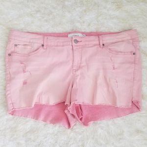 Torrid Plus Shorts Denim Stretch Pink Cutoff 24